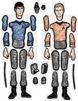 Kirk and Spock jointed paper doll parts. by MadunTwoSwords