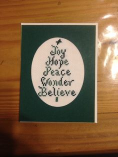 Cross stitch Christmas tree card religious