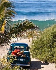 My faves: Surfing, Vintage Chevy Pickup & the North Shore of Oahu, Hawaii = Sheer Bliss!!!!