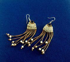 Dandelion clock, macrame earrings, gold and white colors