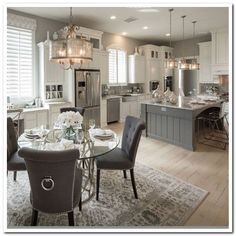 43 Trendy Kitchen Layout With Island House Plans Dining Rooms Living Room Kitchen, Home Decor Kitchen, Home Kitchens, Kitchen Grey, Kitchen Ideas, Casa Disney, Kitchen Layouts With Island, Kitchen Island, Kitchen Cabinets
