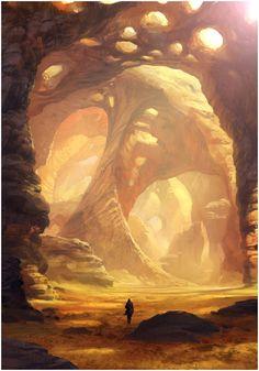 Landscape Concept, Fantasy Landscape, Landscape Art, Desert Landscape, Environment Concept, Environment Design, Fantasy Places, Fantasy World, Drawn Art