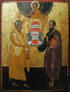 Jonathan Pageau explores two distinct images of the Church in iconography and Orthodox tradition and how they represent complementary realities. Renaissance Paintings, Renaissance Art, Religious Icons, Religious Art, St Peter And Paul, Christian Artwork, Russian Icons, Best Icons, Byzantine Art