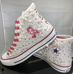 f00a337ec2c2f0 Breast Cancer Custom Converse- Pink Ribbon Bling   Pearls Custom Converse  Sneakers- Personalized Chuck
