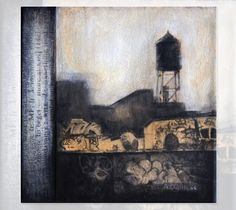 """""""Lindsay Buchman - monoprint mixed media"""" I love everything about this print - thank you for sharing, Sarah. Window View, Print Artist, Towers, Love Art, Graphic Illustration, Printmaking, Doggies, Screen Printing, Mixed Media"""