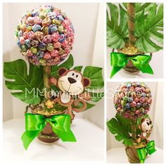 LARGE Jungle Safari Inspired Centerpiece, Lollipop Topiary, Candy Topiaries…