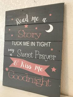 Read me a story girl version home decor sign - pallet, shiplap, farmhouse wood sign. my signs, quotes and bible verses are carefully constructed, Baby Dekor, Girl Sign, Diy Wood Signs, Wood Signs Sayings, Nursery Signs, Nursery Ideas, Bedroom Ideas, Bedroom Decor, Wall Decor