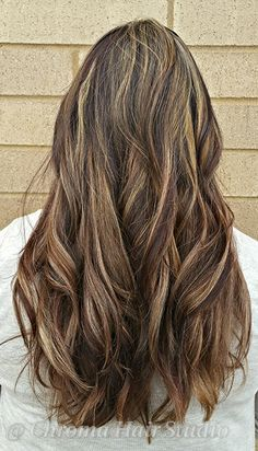Multicolor highlights lowlights brown and blonde Chunky multi ...