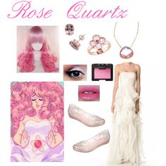 Rose Quartz from Steven Universe by zamantha-palazuelos on Polyvore featuring polyvore, fashion, style, Reem Acra, Melissa, Tresor, Sterling and NARS Cosmetics