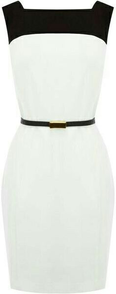 Oasis Drape Back Colour Block Dress in White (black).if I didnt need steel toe boots and a hard hat. Office Dresses, Casual Dresses, Short Dresses, Fashion Dresses, Dresses For Work, Idda Van Munster, Colorblock Dress, White Outfits, Work Attire