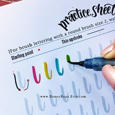 Calligraphy Discover Upper and Lower Case Alphabet Watercolor Brush Lettering worksheets Practice Drills Tips - PDF File Only Lettering Practice Sheets, Brush Lettering Worksheet, Caligraphy Alphabet, Calligraphy For Beginners, Watercolor Brushes, Watercolor Lettering, Watercolor Tips, Giving Up Smoking, Creative Lettering