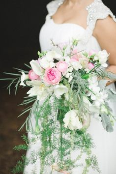 Pale pink and clean white paired with whimsical ferns for one seller bouquet #cdarwoodweddings Neverland-Inspired Wedding at Cedarwood Weddings