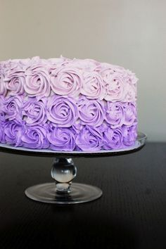 source: Beantown Baker  ~ purple ombre cake w/ recipe & decorating instructions