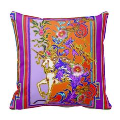 Purple Unicorn Festival Pillow By Sharles