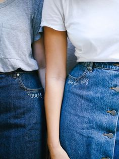 Only the best of friends wear matching denim skirts.@thecoveteur