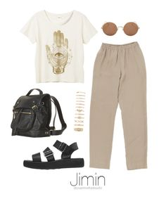 """Bangtan Outfit / #3"" by youaremorethanbeautiful ❤ liked on Polyvore featuring Monki, Sunday Somewhere and Forever 21"