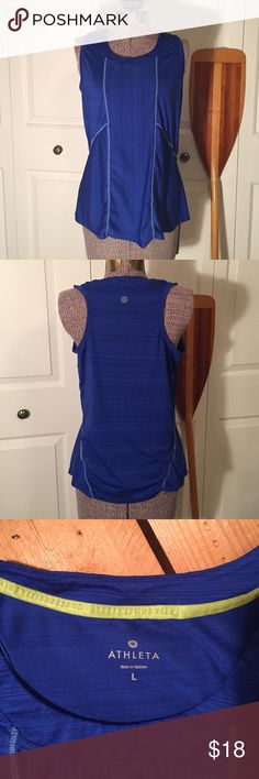 Atleta work out top Sporty workout top by Athleta. Royal blue with reflective stripes for those after sundown workouts. Excellent condition, 🏃🏽 Athleta Tops Tank Tops