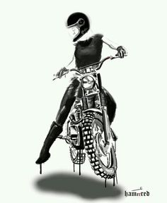 Badass Motorcycle Art by Lady Biker, Biker Girl, Motocross, Bike Tattoos, Sleeve Tattoos, Art Tattoos, Bd Art, Bobber Custom, Harley Davidson