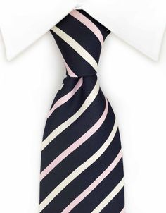 Navy Blue, Pink & White Striped Tie