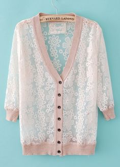 Nude Long Sleeve Embroidery Sheer Sweater (I have one ...
