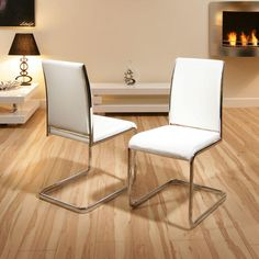 dining chair / chairs set of 2 White Faux leather / Chrome Modern C230 Preview