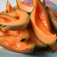 Juicy Cantaloupe:  *Cut cantaloupe into wedges and sprinkle lightly with salt (brings out the sweetness).      ** Serve a seasonal melon which has been grown in Indiana...........THE BEST!