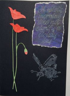 Card with Poppies and Penny Black Butterfly