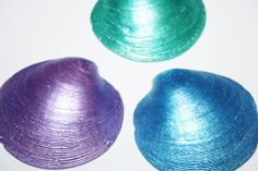 Hand Painted Hard Shelled Clams - Shiny Shells pieces) - Summer Finds -Fairy Garden - Beach House - Beach Home Decor - Terrarium Shells Purple Art, Green Art, Blue Art, Beach Fairy Garden, Original Artwork, Original Paintings, Seashell Painting, Garden Items, Stuffed Shells