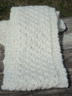 Winter White Wool Scarf Hand Spun Hand knitted by WendysWonders127, $40.00
