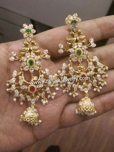 1 Gram Gold Jewellery, Gold Jewelry, Beaded Jewelry, Jewelery, Jewelry Design Earrings, Gold Earrings Designs, Earring Trends, Hanging Earrings, India Jewelry