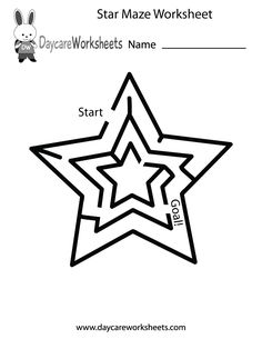 Preschoolers can work on their critical thinking skills and have fun by solving this star maze in this free activity worksheet.