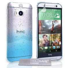 YouSave HTC One M8 Raindrop Hard Case - Blue-Clear | Mobile Madhouse