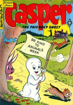 """Lower mid-grade, early Golden-Age copy of Harvey Comics, """"Casper, the Friendly Ghost issue (September, There were only 5 issues in that series. This a decent book. Vintage Cartoons, Vintage Comics, Vintage Art, Children's Comics, Archie Comics, Classic Comics, Classic Cartoons, Childhood Characters, Cartoon Characters"""