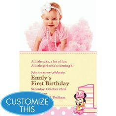 Minnie Mouse 1st Birthday Custom Photo Invitation want this for my daughter!