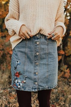 Ivory sweater, embroidered denim skirt, tights, fall outfit, church outfit, school outfit