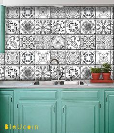 Tile decal : Grey Portugal style mix   44 numbers by Bleucoin