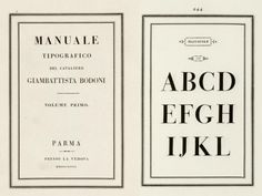 Bodoni's Manuale Tipografico printed in Parma a long time ago.