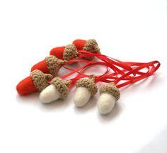Christmas decor red white felt acorns set of 8 wool by astashtoys, $16.00