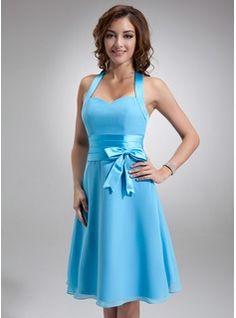 Bridesmaid Dresses - $90.99 - A-Line/Princess Halter Knee-Length Chiffon Satin Bridesmaid Dress With Ruffle  http://www.dressfirst.com/A-Line-Princess-Halter-Knee-Length-Chiffon-Satin-Bridesmaid-Dress-With-Ruffle-007000937-g937