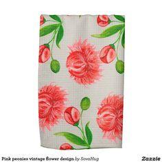 Pink peonies vintage flower design towels