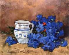 Stefan Luchian Still Life with Blue Flowers and Pitcher - The Largest Art reproductions Center In Our website. Low Wholesale Prices Great Pricing Quality Hand paintings for saleStefan Luchian Summer Flowers, Blue Flowers, Painted Boards, Flower Oil, Magazine Art, Large Art, Still Life, Be Still, Medium Art