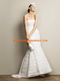 David's belle robe de mariée sans bretelle sirène organza