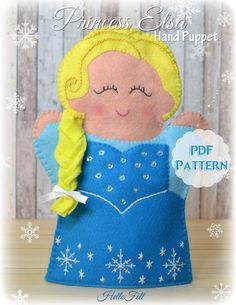 PDF Pattern, Felt Princess Elsa Hand Puppet, Instant Download, Felt Hand Puppet. $4.50 USD
