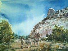Vista de Piedra Colgada, pintado por el pintor copiapino Juan Carlos Aguirre Carrasco.