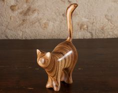 """Wooden Cat Sculpture """"Large Martha"""" Stripy Cat Carved From Zebrano Zebra Wood by Perry Lancaster, Contemporary Cat Statue Figurine Wood Carving Art, Wood Art, Cat Statue, Wooden Cat, Framed Fabric, Wood Creations, Whittling, Animal Sculptures, Wood Sculpture"""