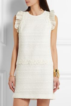 Giambattista Valli | Organza and lace-trimmed cotton-blend tweed mini dress | NET-A-PORTER.COM