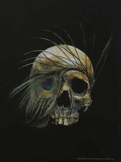 peacock feather + skull = this would be an amazing basis for a thigh tattoo