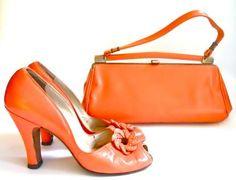Creamsicle orange late 1940's  babydoll peep-toe shoes and matching handbag.