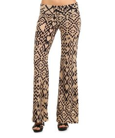 Another great find on #zulily! J-MODE Beige & Black Tribal Flare Pants by J-MODE #zulilyfinds