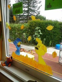 Raamschildering woezel en pip thema herfst